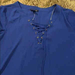 NWOT Love Connection Royal Blue sheer blouse